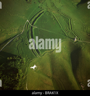 Aerial image of Oldbury Camp Hill Fort with Cherhill White Horse, Cherhill Down, Calne, Wiltshire, England, United - Stock Photo