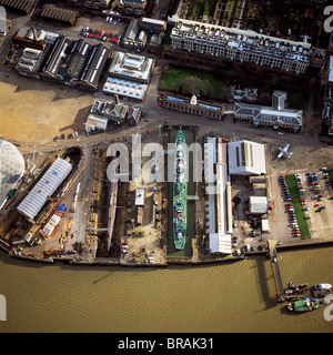 Aerial image of Chatham Historic Dockyard, a maritime museum, Chatham, Kent, England, United Kingdom, Europe - Stock Photo