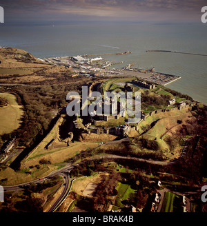 Aerial image of Dover Castle with Dover Harbour beyond, Kent, England, United Kingdom, Europe - Stock Photo