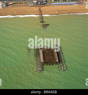 Aerial image of the burnt-out West Pier, Brighton, Sussex, England, United Kingdom, Europe - Stock Photo