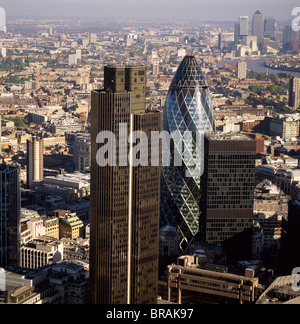 Aerial view of Tower 42, Gherkin (30 St. Mary Axe) (Swiss Re Building) and St. Helen's (Aviva Tower), City of London, - Stock Photo