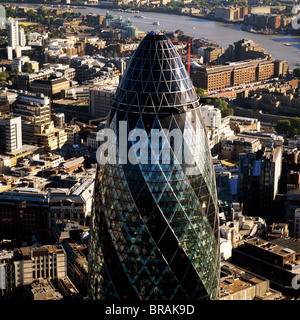 Aerial image of the Swiss Re Building (30 St. Mary Axe) (Gherkin), City of London, London, England, United Kingdom, - Stock Photo