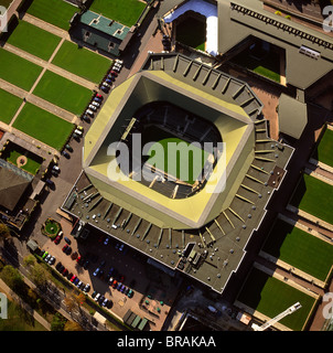 Aerial image of Centre Court, All-England Club (All England Lawn Tennis and Croquet Club), Wimbledon, London, England, - Stock Photo