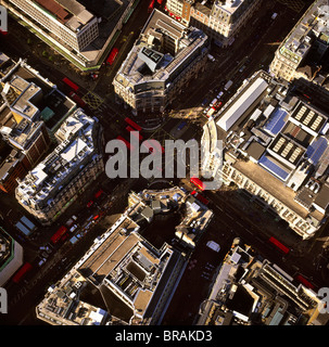 Aerial image of Oxford Circus, a busy intersection of Regent Street and Oxford Street, in the City of Westminster, - Stock Photo