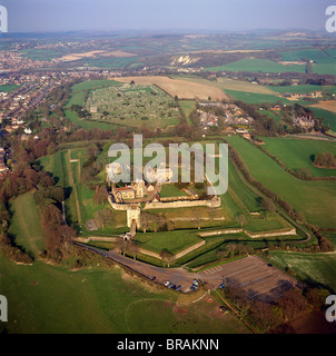 Aerial image of Carisbrooke Castle, a historic motte-and-bailey castle, Carisbrooke, near Newport, Isle of Wight, - Stock Photo