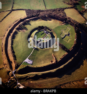 Aerial image of Old Sarum, Wiltshire, UK - Stock Photo