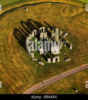 Aerial image of Stonehenge, prehistoric monument and stone circle, UNESCO, Salisbury Plain, Wiltshire, England, - Stock Photo
