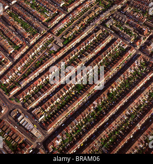 Aerial image of terraced housing, Portsmouth, Hampshire, England, United Kingdom, Europe - Stock Photo