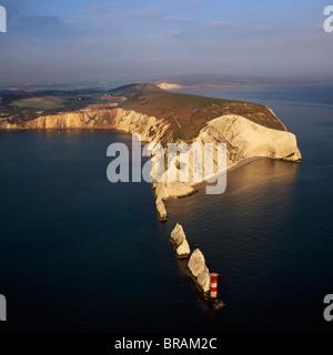 Aerial image of The Needles, Alum Bay, Isle of Wight, UK - Stock Photo