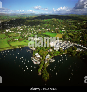 Aerial image of Bowness-on-Windermere, Lake Windermere, Lake District National Park, Cumbria, England, United Kingdom, - Stock Photo
