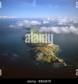 Aerial image of Lundy Island looking from north to south, Bristol Channel, Devon, England, United Kingdom, Europe - Stock Photo
