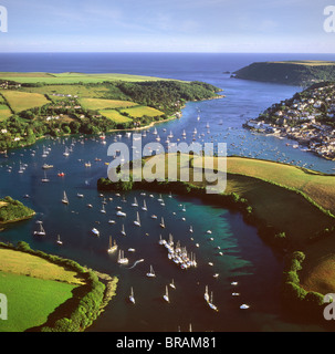 Aerial image of Salcombe and East Portlemouth, Kingsbridge Estuary, Devon, England, United Kingdom, Europe - Stock Photo