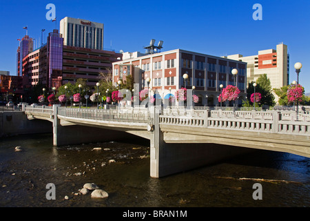 Center Street Bridge in downtown Reno, Nevada, United States of America, North America - Stock Photo