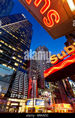 Neon lights of 42nd Street, Times Square, Manhattan, New York City, New York, United States of America, North America - Stock Photo