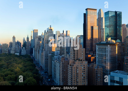Buildings along South Central Park in Uptown Manhattan, New York City, New York, United States of America, North - Stock Photo