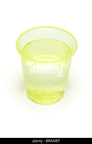 Water in yellow plastic cup on white background - Stock Photo