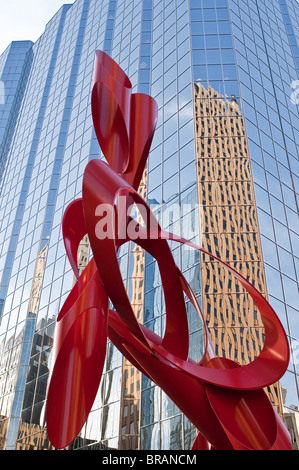 Red sculpture, Leadership Square, Oklahoma City, Oklahoma, United States of America, North America - Stock Photo