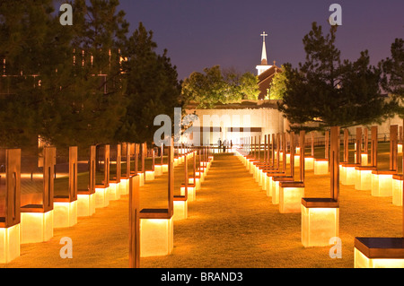 Field of Empty Chairs at the Oklahoma City National Memorial, Oklahoma City, Oklahoma, United States of America, - Stock Photo