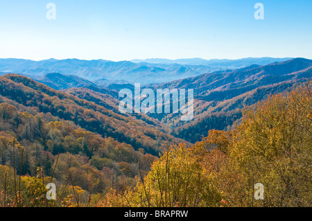 View over valley with colourful foliage in the Indian summer, Great Smoky Mountains National Park, UNESCO, Tennessee, - Stock Photo