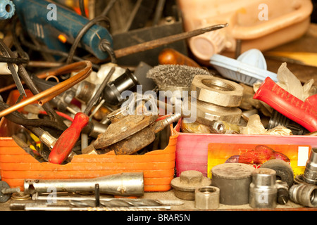 Close up of a mess of used rusty tools - Stock Photo