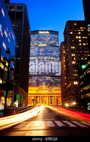 Light-Trails in front of the MetLife Building and Grand Central Terminal in Midtown Manhattan, New York City USA - Stock Photo