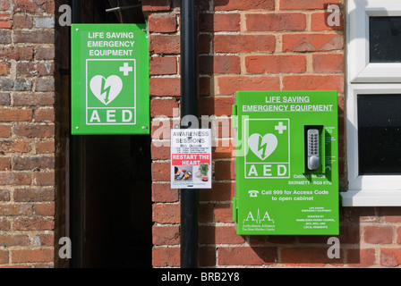Automated External Defibrillator used to treat Heart Attacks in rural areas. This is at Skirmett, Buckinghamshire, - Stock Photo