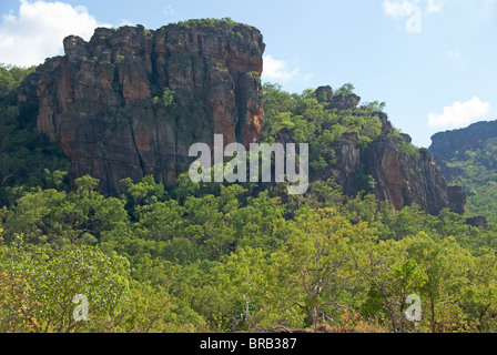 Rock outcrop at Nourlangie (Burrunggui) in Kakadu National Park, Northern Territory, Australia. - Stock Photo