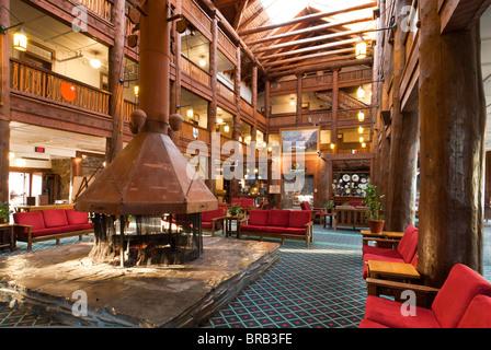 Lobby, Many Glacier Hotel, Glacier National Park, Montana.