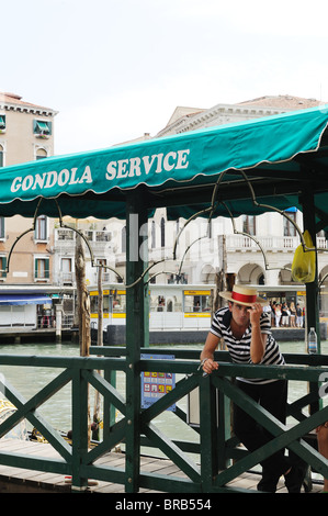 Young handsome Gondolier in Venice Italy - Stock Photo