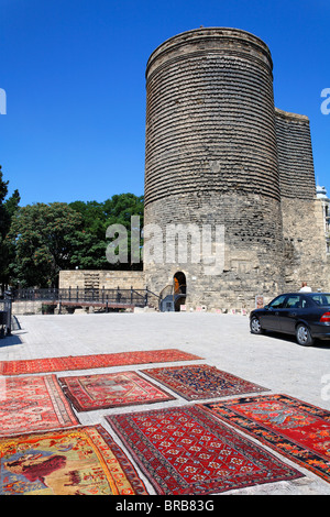 Maiden's Tower in Baku Old Town, Baku, Azerbaijan - Stock Photo