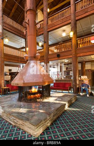 Lobby fireplace, Many Glacier Hotel, Glacier National Park, Montana.