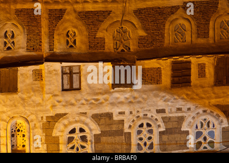 Detail of building in Old City of Sana'a, Yemen - Stock Photo