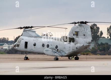 A US Marines CH-46 Sea Knight at Miramar Air Station in California - Stock Photo