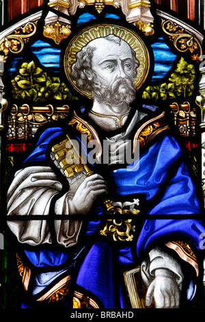 St. Peter, 19th century stained glass in St. John's Anglican church, Sydney, New South Wales, Australia - Stock Photo
