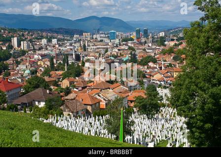 View over the city of Sarajevo, Bosnia-Herzegovina - Stock Photo