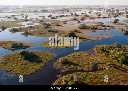 Aerial view of Okavango Delta, Botswana - Stock Photo