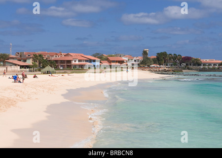 Sandy beach, Santa Maria, Sal, Cape Verde, Atlantic - Stock Photo