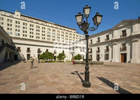 An inner courtyard of the Palacio de La Moneda, formerly a colonial mint, Civic District, Santiago, Chile - Stock Photo