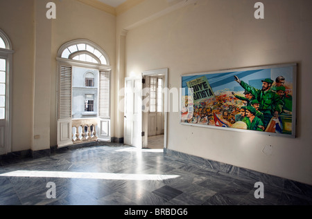 Cuba Havana Refugio 1 Exhibition Room At Museum Of The Revolution With Colored Painting On The Wall Inspired By - Stock Photo