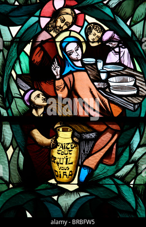 Stained glass window of the Cana wedding feast, Saint-Joseph des Fins church, Annecy, Haute Savoie, France - Stock Photo