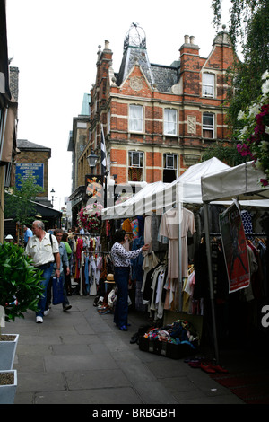 Camden Passsage Market by the Camden Head pub, Camden Passage, Islington, London, UK - Stock Photo