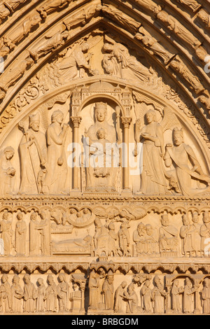 St. Anne's gate, west front, Notre Dame Cathedral, UNESCO World Heritage Site, Paris, France - Stock Photo
