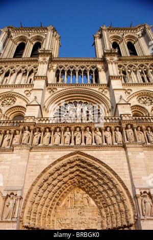 West front, Notre Dame Cathedral, UNESCO World Heritage Site, Paris, France - Stock Photo