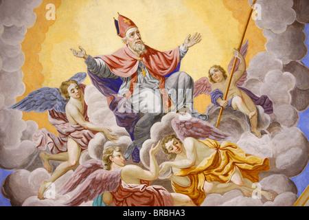 Life of  St. Nicolas in Saint-Nicolas de Veroce church, Haute Savoie, France - Stock Photo