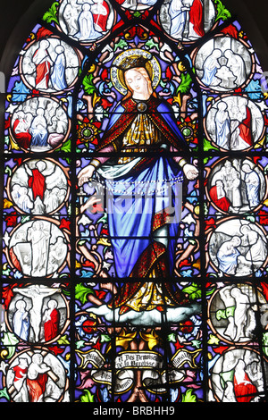 Stained glass of Christ's Passion, Saint Martin's church, Saint-Valery-sur-Somme, Somme, France - Stock Photo