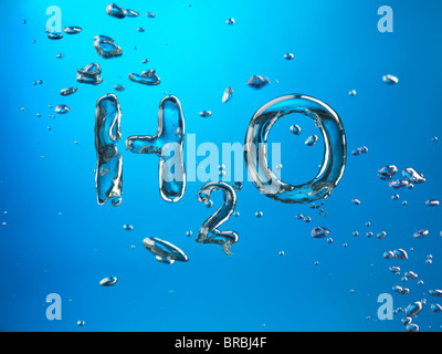 Formula of Water H2O made by oxygen bubbles, conceptual image. - Stock Photo