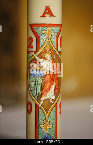 Jesus and St. Peter on Easter candle, Arles, Bouches du Rhone, France - Stock Photo