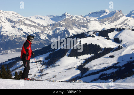 Skier in Megeve, Haute Savoie, French Alps, France - Stock Photo