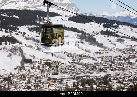 Skilift in Megeve, Haute Savoie, French Alps, France - Stock Photo