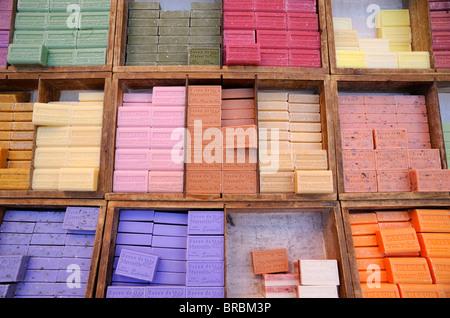 france, provence, vaucluse, orange, market, provencal soap - Stock Photo
